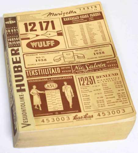 Helsinki Telephone Directory 1958