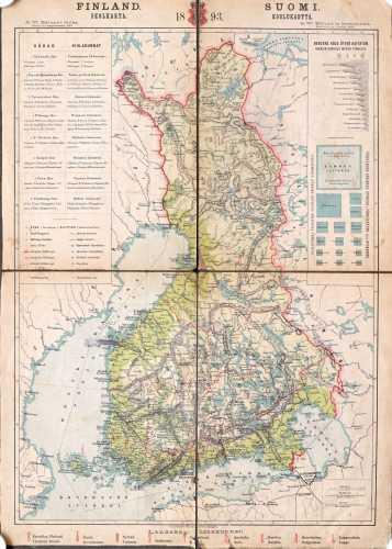 Finland Skolkarta 1893 Suomi Koulukartta