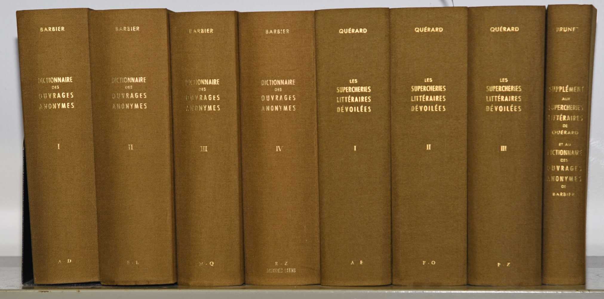 BARBIER, A.-E. Dictionaire des ouvrages anonymes