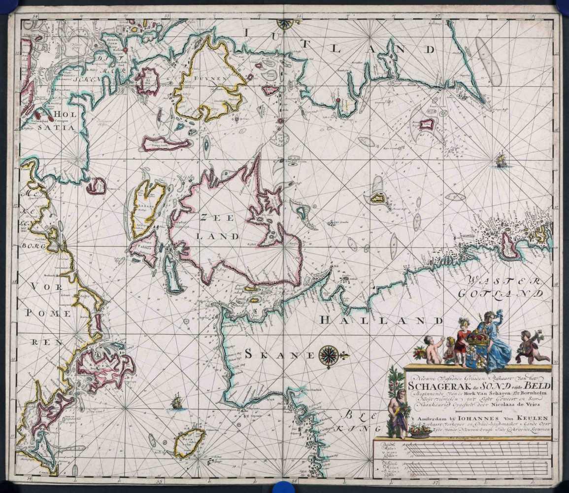 KEULEN, J. van. Nieuwe wassende graaden paskaart van het Schagerack de Sond ende Beld. 1720-