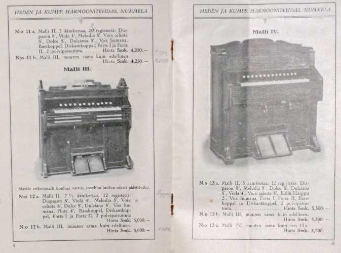 Hedén ja kumpp. harmonitehtaan valmistamien urkuharmonien hinnasto