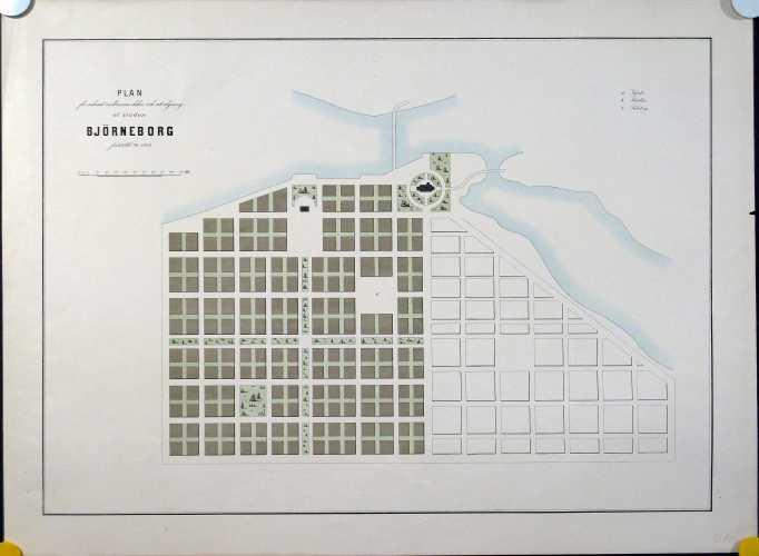 LINDHAGEN, A. Plan för sednast nedbrunna delen och utvidgning af staden Björneborg