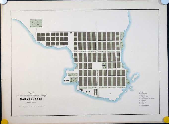 LINDHAGEN, A. Plan för tillämnade staden vid utloppet af Kemi elf Sauvonsaari