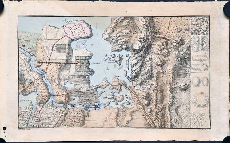 Fieandt, Otto von. Topografien kouluttamiseen tehty mallikartta vuodelta 1803