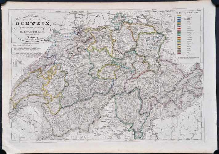 Streit, F.W. Reise- und Höhen-Charte der Schweitz