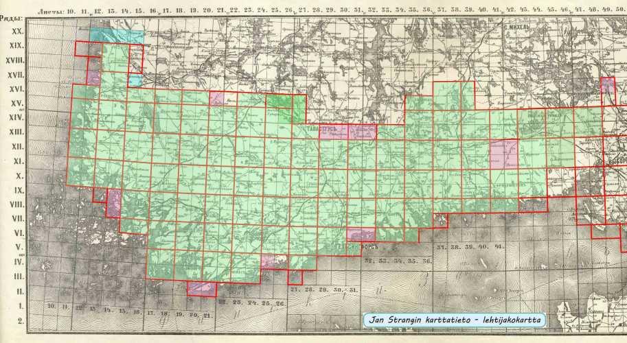 Topografinen kartta 1:42 000 - kokoelma venäjänkielisiä suurikokoisia lehtiä