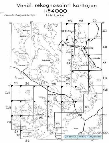 Topografinen kartta 1:84 000 - kaikki ilmestyneet lehdet