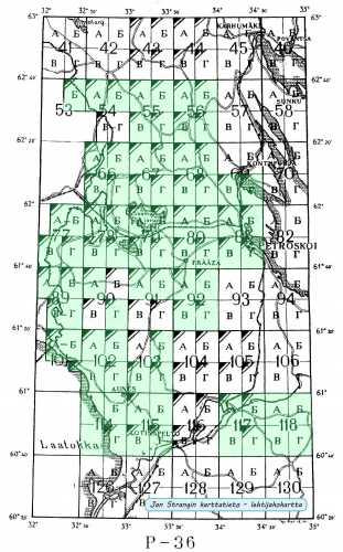 Itä-Karjalan kartasto 1:50 000. Kokoelma neuvostoliittolaisia topografikarttoja