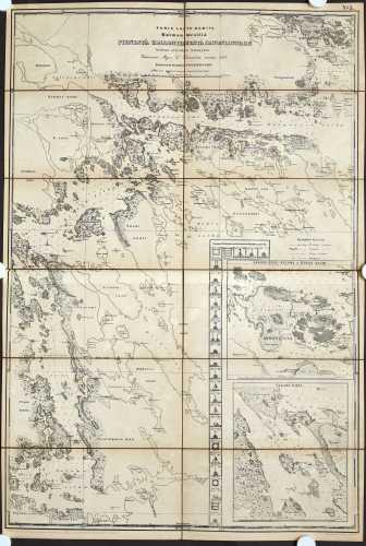 Lönneström, K. Purje-laita kartta Saimaan vesillä. 1864