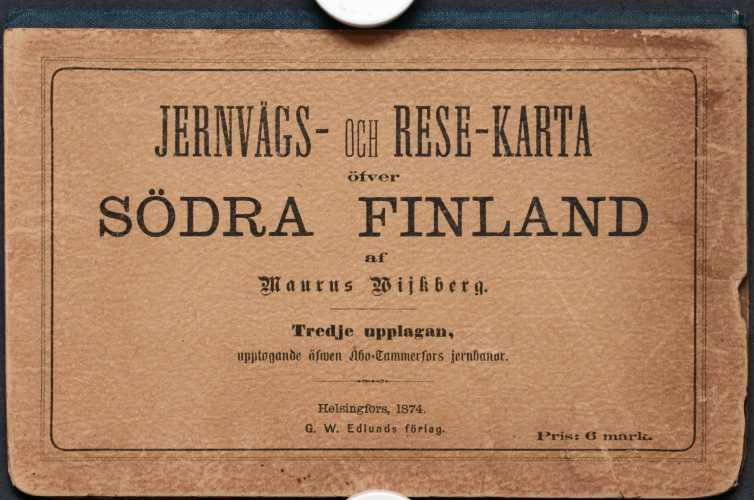 Etelä-Suomen matkustuskartta v. 1874 - 1:533 320