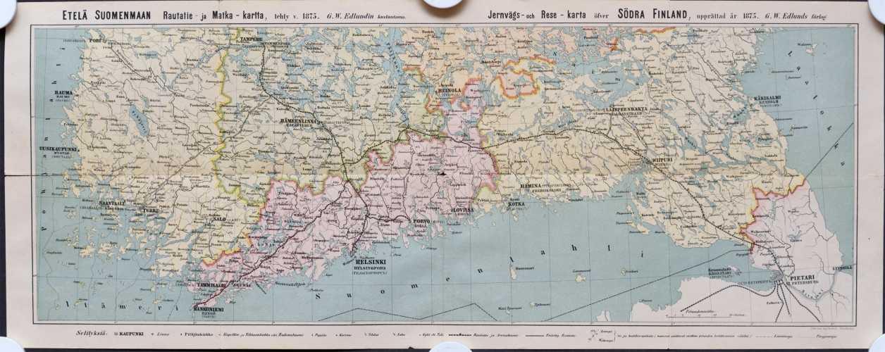 Etelä Suomenmaan rautatie- ja matka- kartta v. 1875 - 1:1 000 000