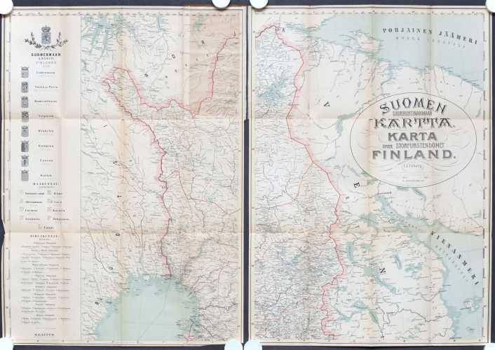 Inberg. I.J. Suomen suuriruhtinanmaan kartta v. 1875. Täydentänyt v. 1900 N. Holmström - 1:1 000 000