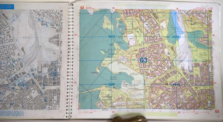 Helsingin Kiinteistökartta 1:10 000 (Ki10) vuodelta 1990