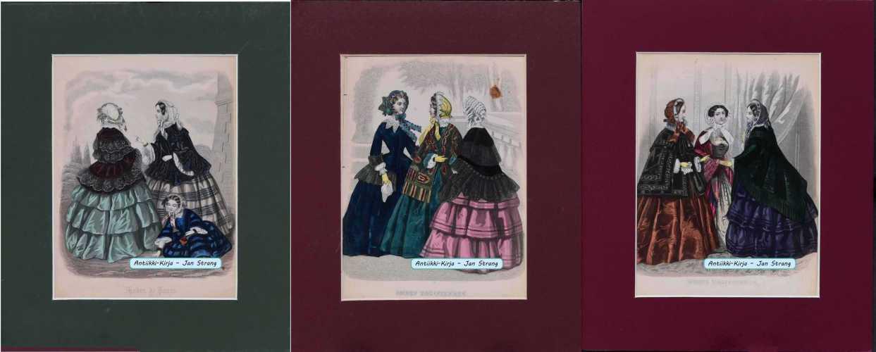 Muotipukukuvia vuodelta 1850 (5 kpl)