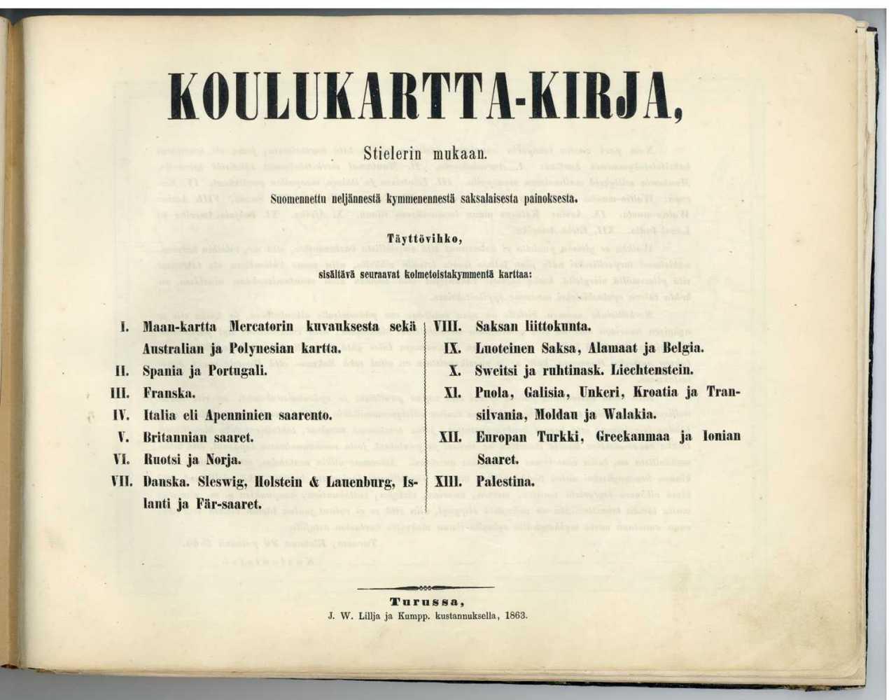 Ensimmäinen suomenkielinen kartasto