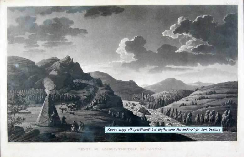 SKJÖLDEBRAND, A. F. Tente de Lapons, troupeau de rennes